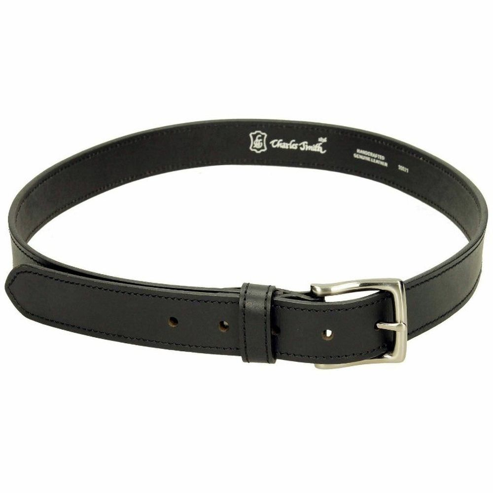 Charles Smith 30mm Stitched Leather Belt - Black