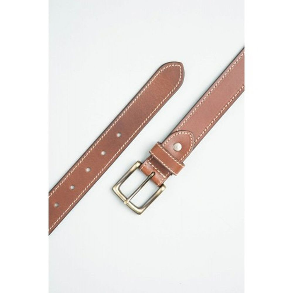 Charles Smith Tan 30mm Stitched Leather Belt - 44 Inch