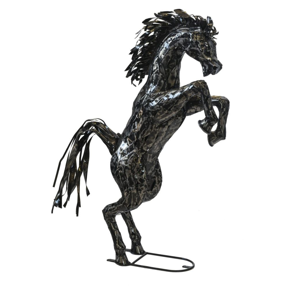 Fountasia 90cm Small Metal Rearing Horse Sculpture