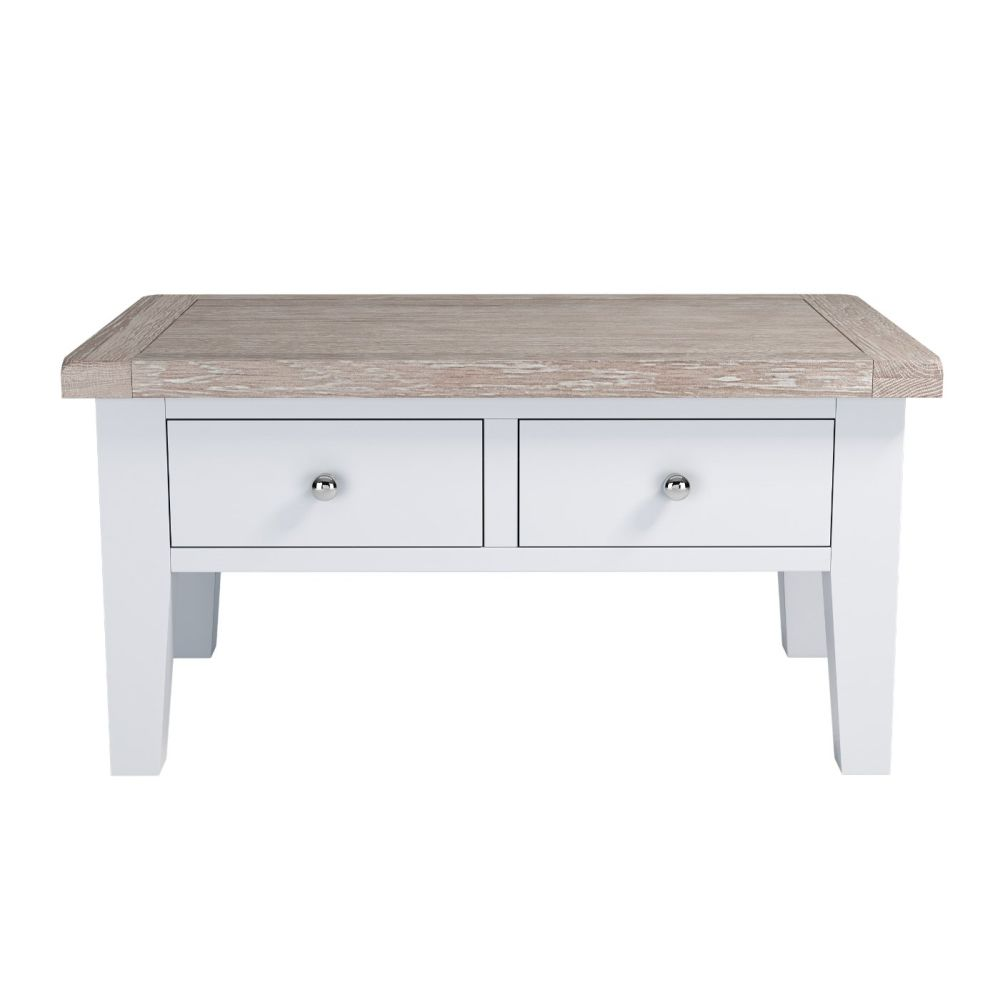 Painted Oak Coffee Table With Drawers