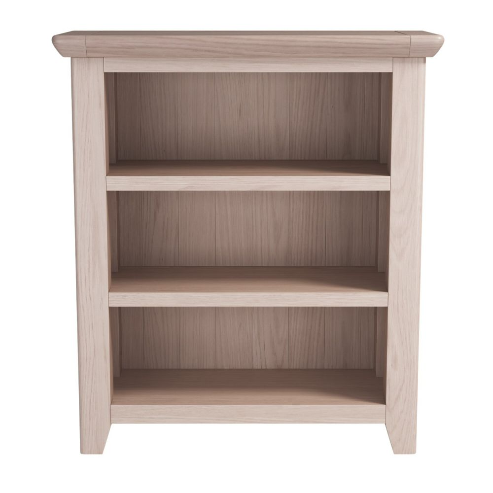 Rustic Oak Low Bookcase With 2 Shelves