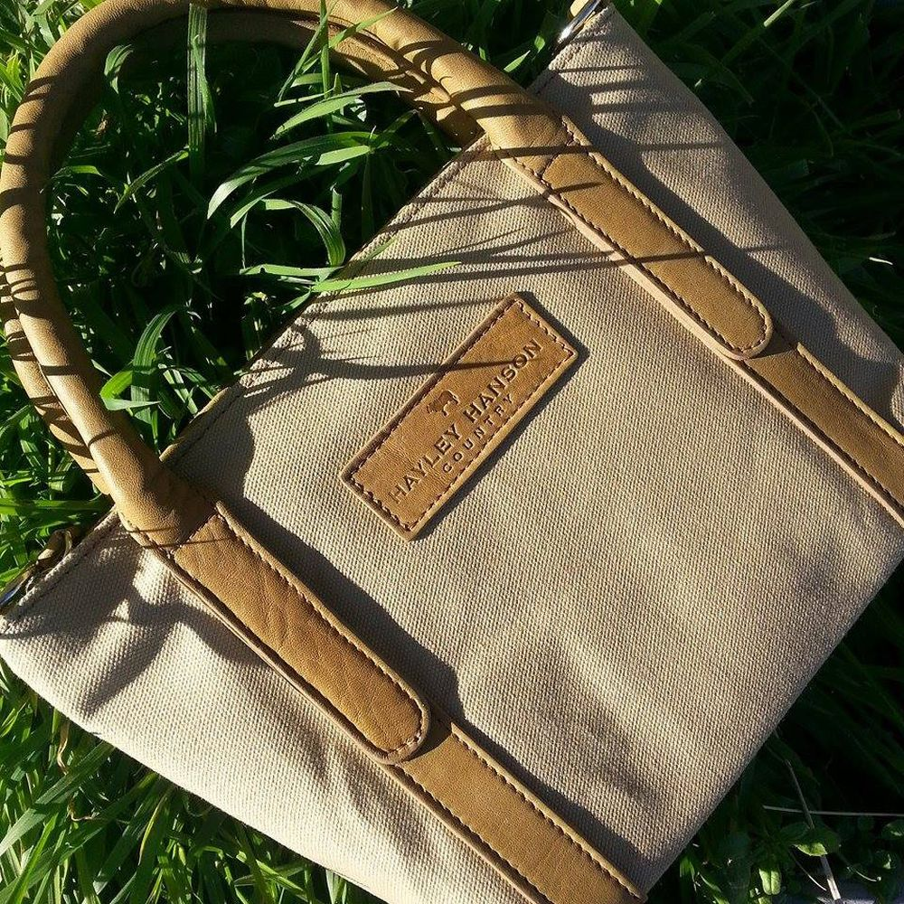 Hayley Hanson Small Sand Canvas Leather Trimmed Brecon Tote Bag
