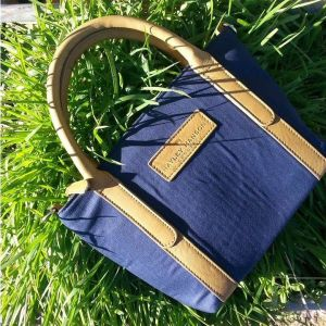 Hayley Hanson Small Blueberry Leather Trimmed Brecon Tote Bag