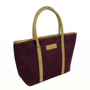 Hayley Hanson Large Winterberry Leather Trimmed Brecon Tote Bag