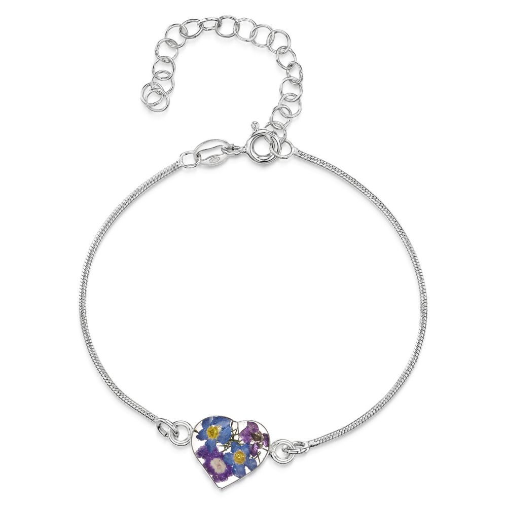 Forget-me-not Sterling Silver Heart Pendant Necklace in Box Shrieking Violet