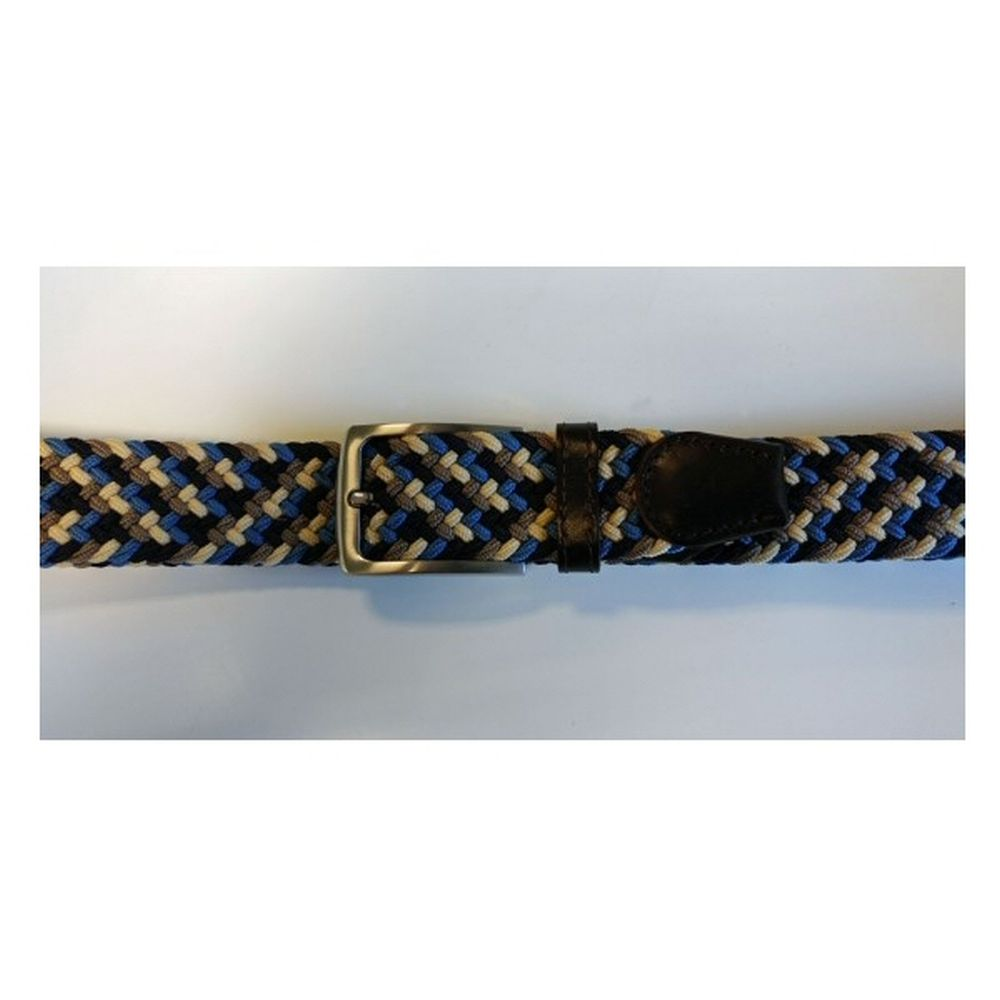 Ibex 35mm Woven Leather/Elastic Belt - Blue/Grey