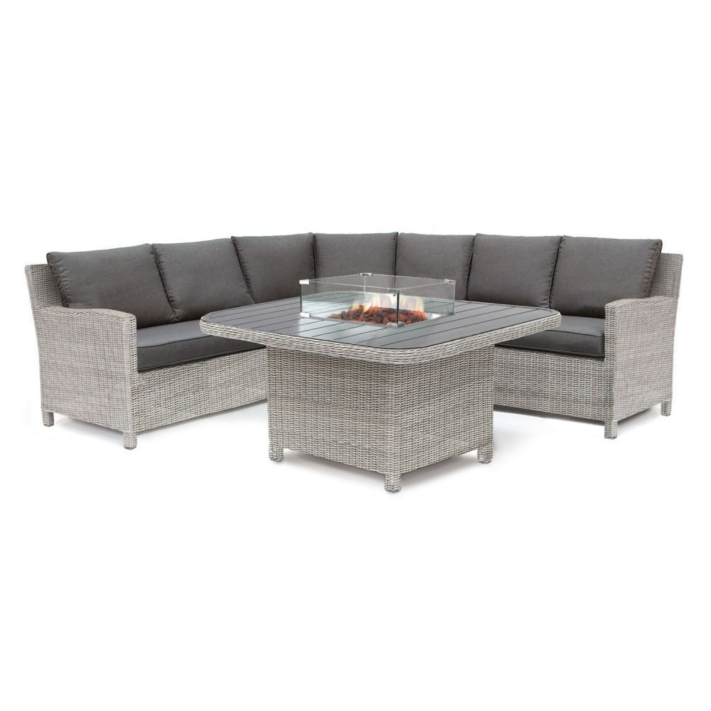 Kettler Palma Grande Suite with Fire Pit Table Whitewash