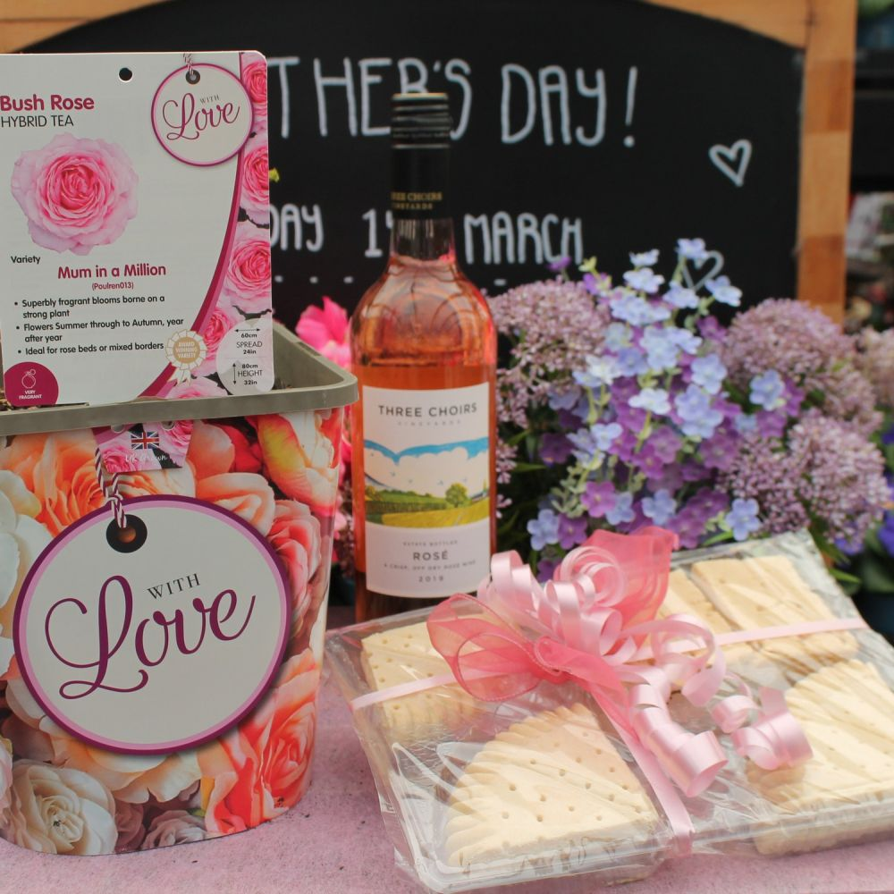 Mother's Day Rose Bundle with Wine & Shortbread