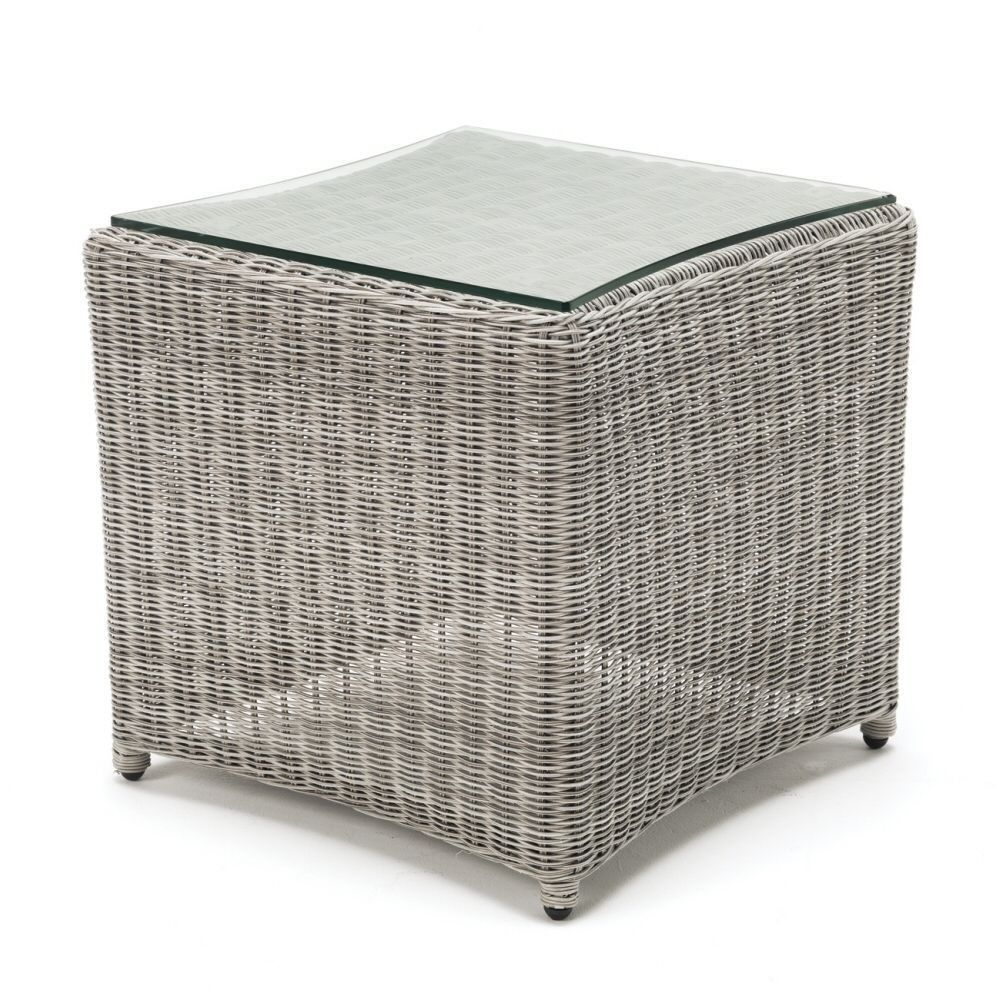 Kettler White Wash Wicker Side Table