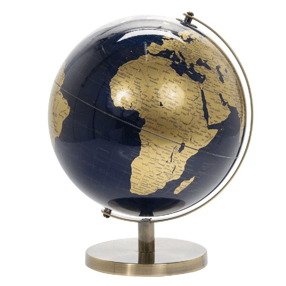 Lesser & Pavey 33cm Blue & Gold World Globe