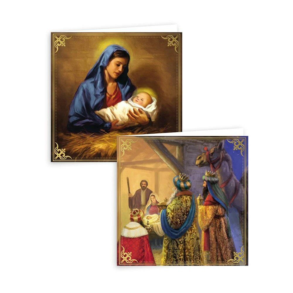 Giftmaker Traditional Religious Square Christmas Cards - Pack of 10