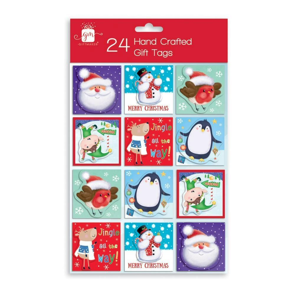 Giftmaker Handcrafted Novelty Christmas Gift Tags - Pack of 24
