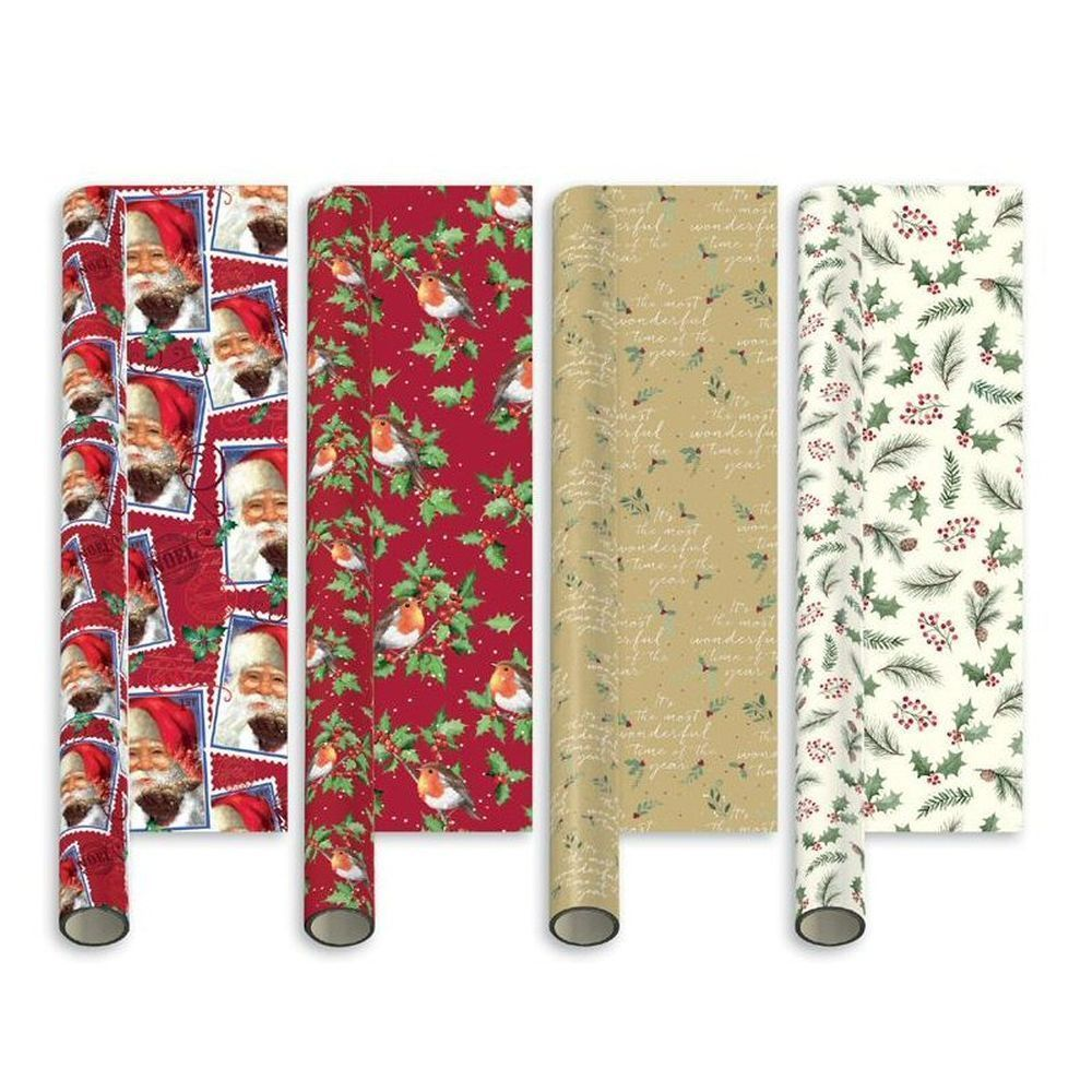 Giftmaker 5m Elegant Traditional Christmas Gift Wrap (Choice of 4)
