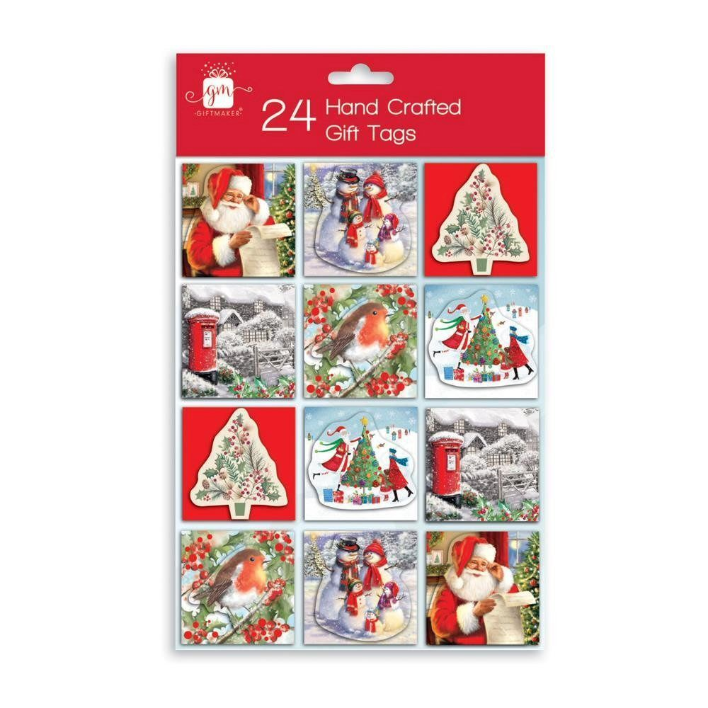 Giftmaker Handcrafted Traditional Christmas Gift Tags - Pack of 24