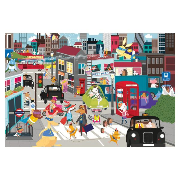 Gibson Games 36 Piece Superhero City Jigsaw Puzzle - Puzzles - Old