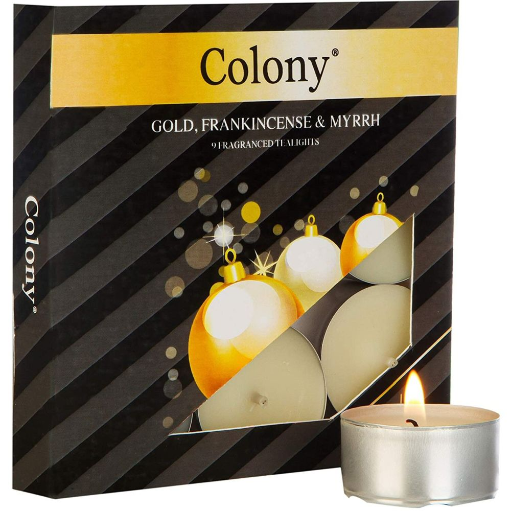Wax Lyrical Colony Pack of 9 Gold, Frankincense & Myrrh Tealights