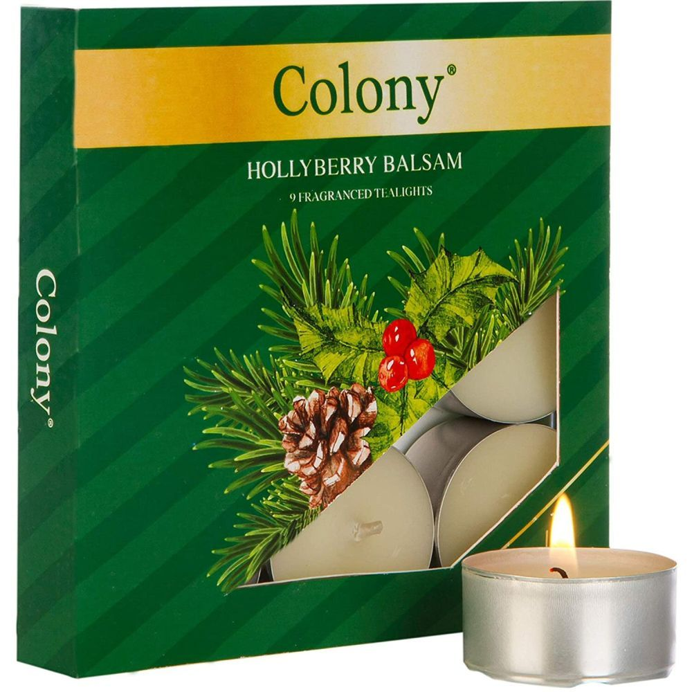 Wax Lyrical Colony Pack of 9 Hollyberry Balsam Tealights