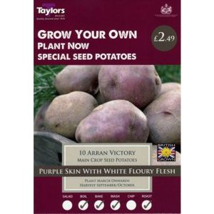 Taylors 10 Arran Victory Main Crop Organic Seed Potatoes