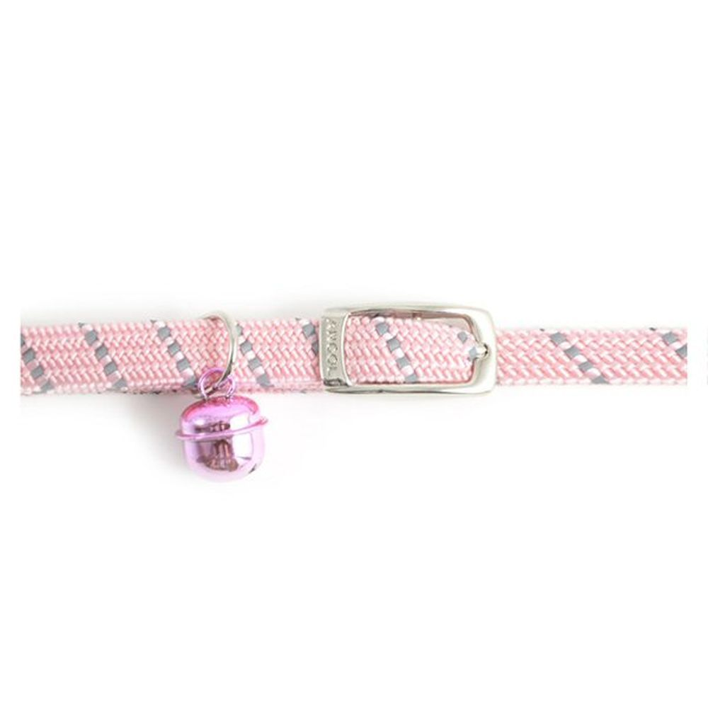 Ancol Pink Reflective All Elastic Softweave Cat Collar