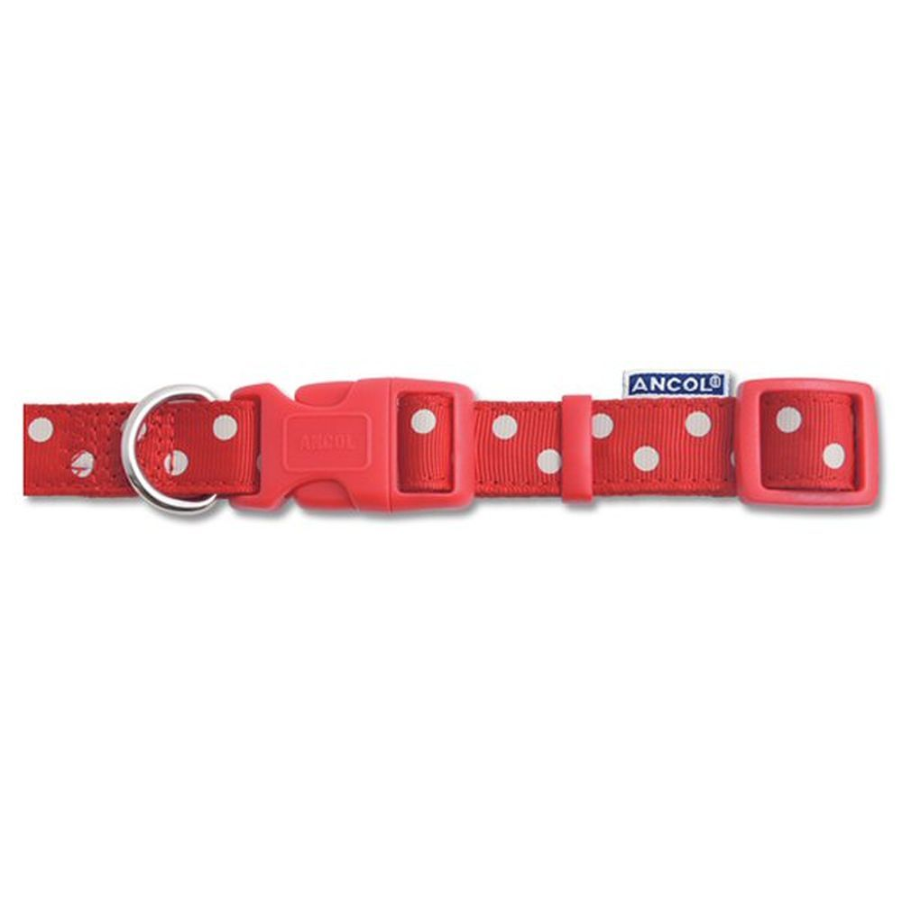 Ancol 20 - 30cm Red Adjustable Vintage Polka Dog Colar - 699020