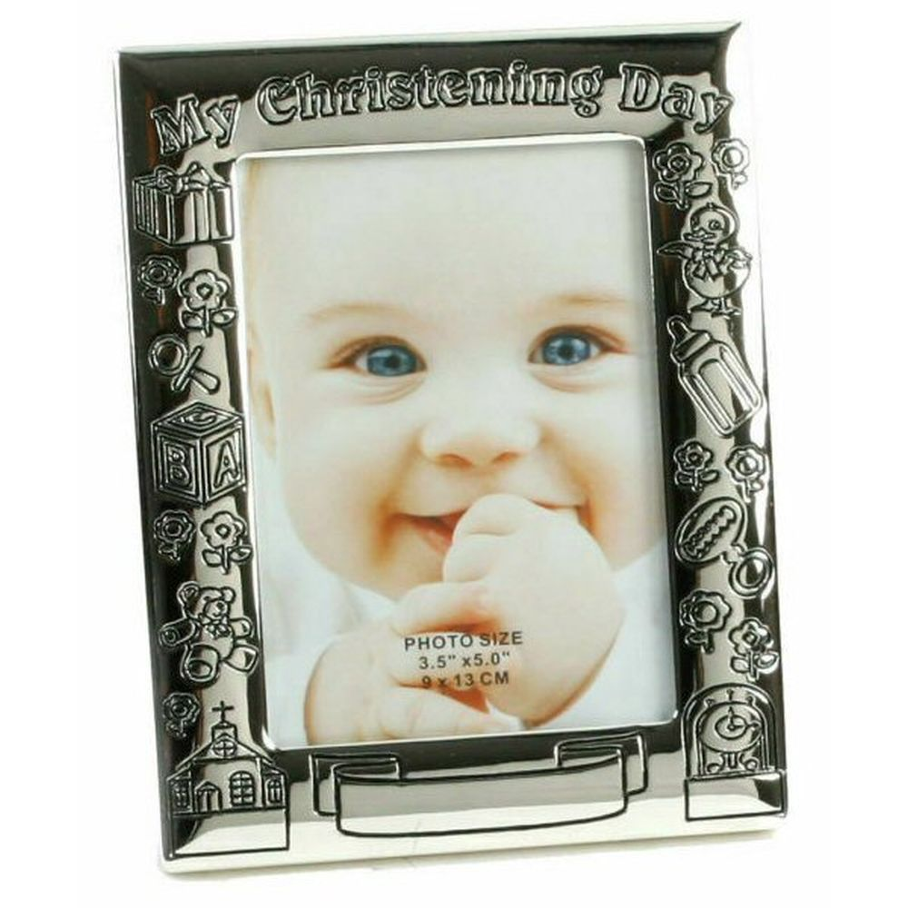 "Celebrations 3.5"" x 5"" Silver-Plated My Christening Day Photo Frame"