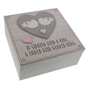 Love Story MDF Square Keepsafe Box It Started With A Kiss