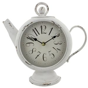 Widdop and Co 31cm White Teapot Mantel Clock - W2872