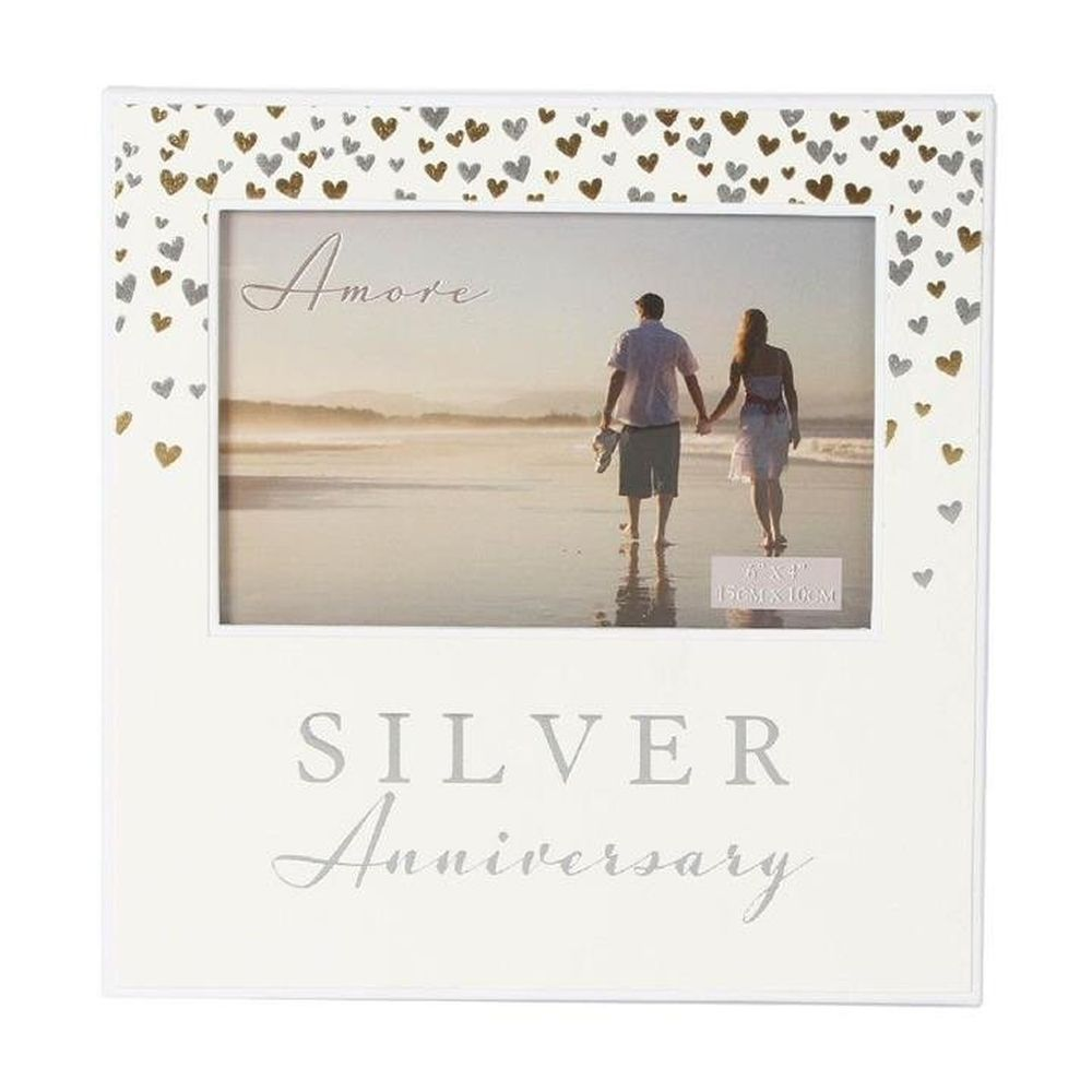 "Amore 6"" x 4"" Silver Anniversary Photo Frame"