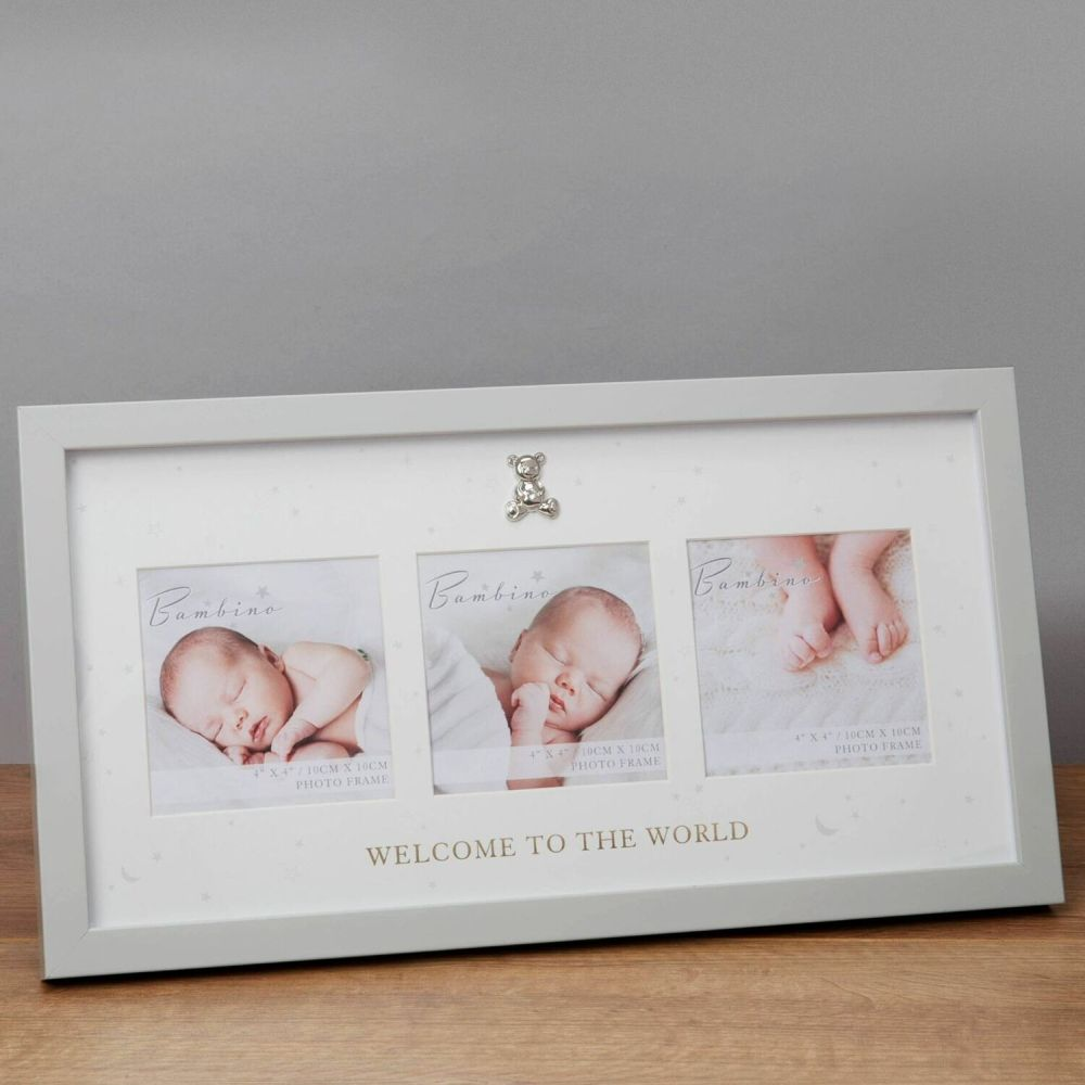 "Bambino Welcome To The World 4"" x 4"" Triple Photo Frame"