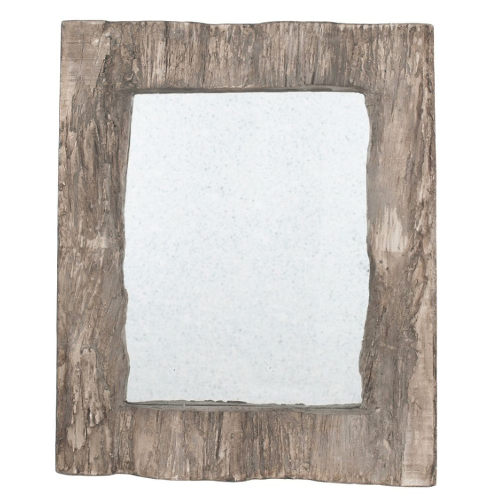 Pacific Lifestyle Aged Wood Effect Polyresin Oblong Wall Mirror