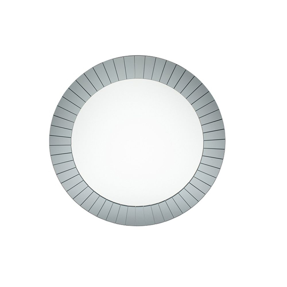 Pacific Lifestyle Smoked Grey Glass Art Deco Round Wall Mirror