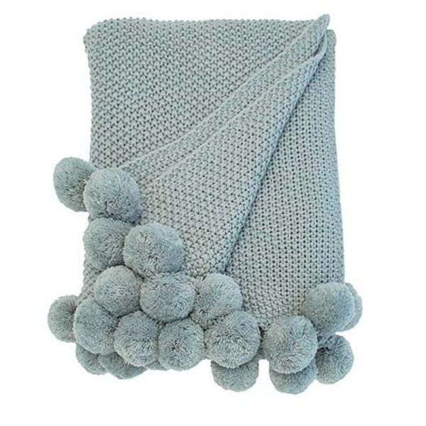 Walton & Co 170cm Cosy Knit Pom Pom Throw - Opal