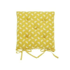 Walton & Co 38cm Ochre Bee Seat Pad With Ties