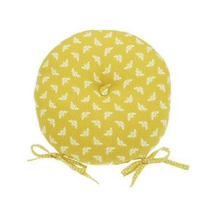 Walton & Co 40cm Ochre Bee Round Seat Pad With Ties