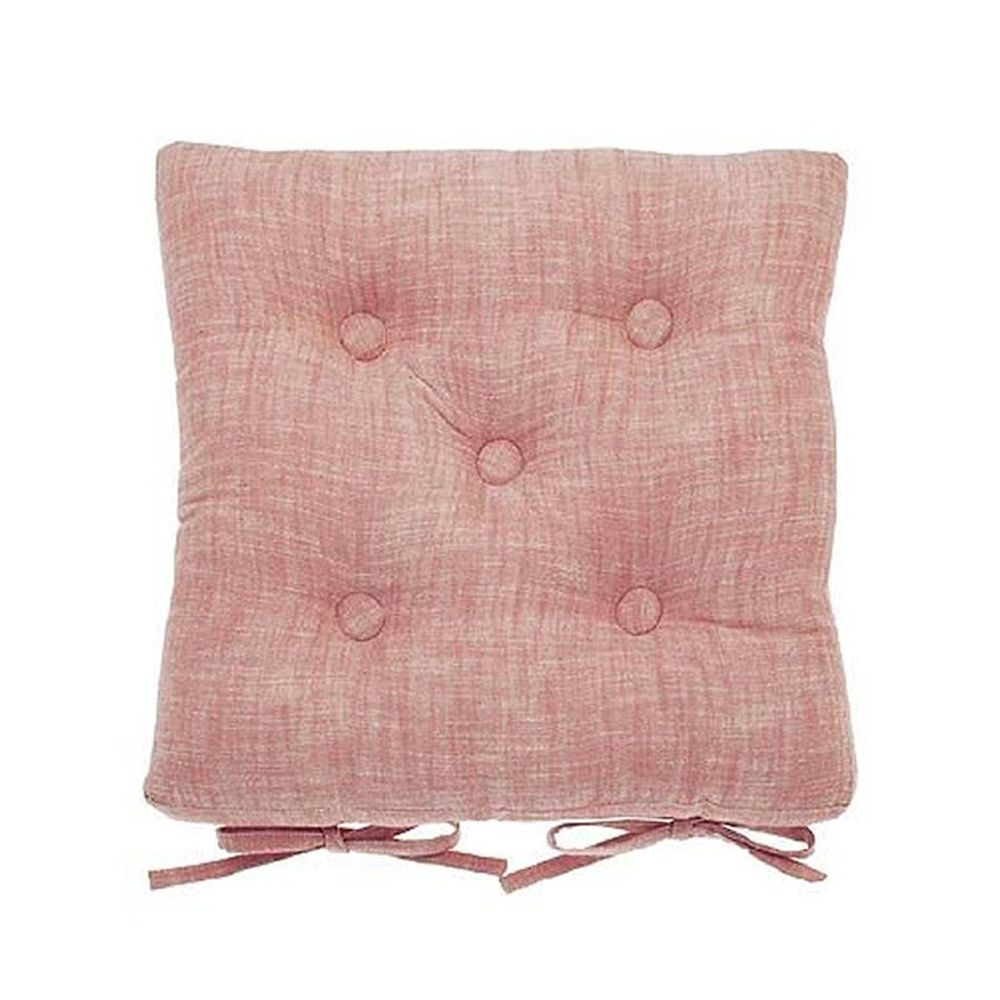 Walton & Co Chambray Seat Pad With Terracotta Blush