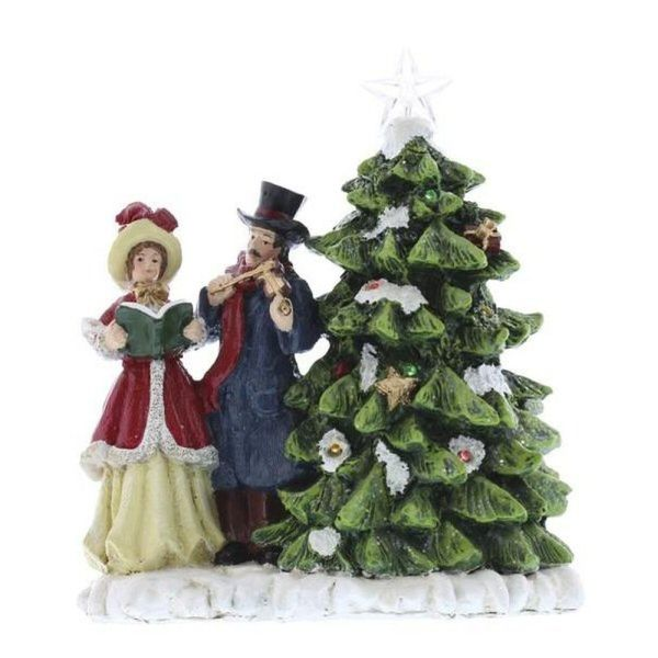 Christmas Carol Singers Ornaments.Festive 20cm Lit Carol Singers With Christmas Tree Ornament