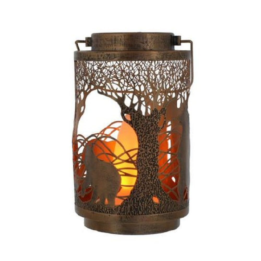 Festive 21cm Lit Copper Metal Bear Lantern