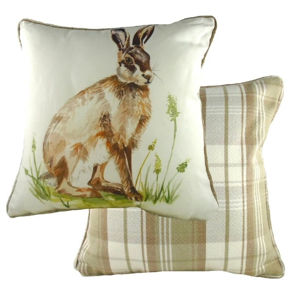 Evans Lichfield 43cm Country Hare Piped Cushion
