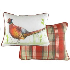Evans Lichfield 43cm Country Pheasant Red Piped Cushion