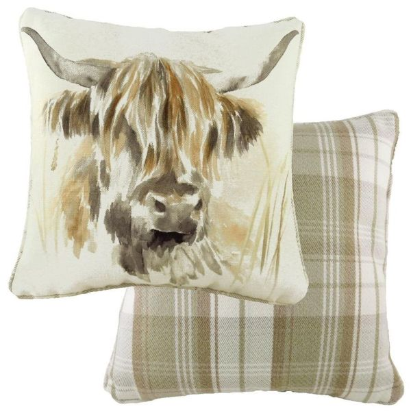 Evans Lichfield 43cm Watercolour Highland Cow Piped Cushion
