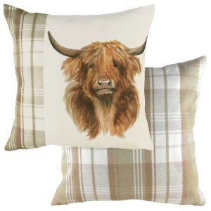 Evans Lichfield 43cm Hand Painted Highland Cow Natural Cushion