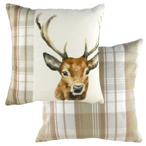Evans Lichfield 43cm Hand Painted Stag Natural Cushion