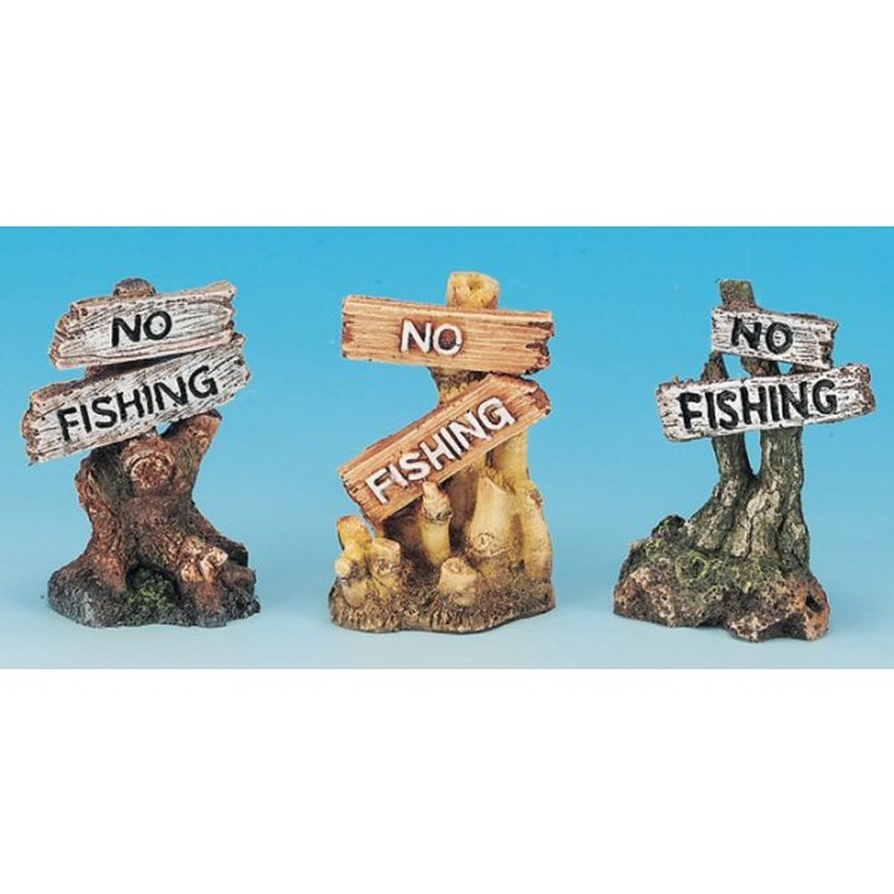 J&K Aquatics 8cm 'No Fishing' Aquarium Ornament