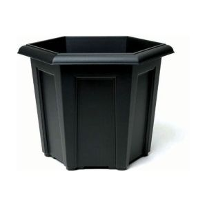 Stewarts 40cm Black Regency Hexagonal Plastic Planter
