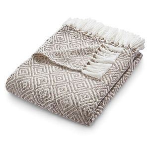 Hug Rug 130 x 180cm Natural Woven Diamond Throw