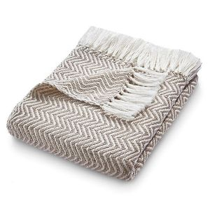 Hug Rug 130 x 180cm Natural Woven Herringbone Throw
