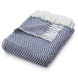 Hug Rug 130 x 180cm Navy Woven Diamond Throw