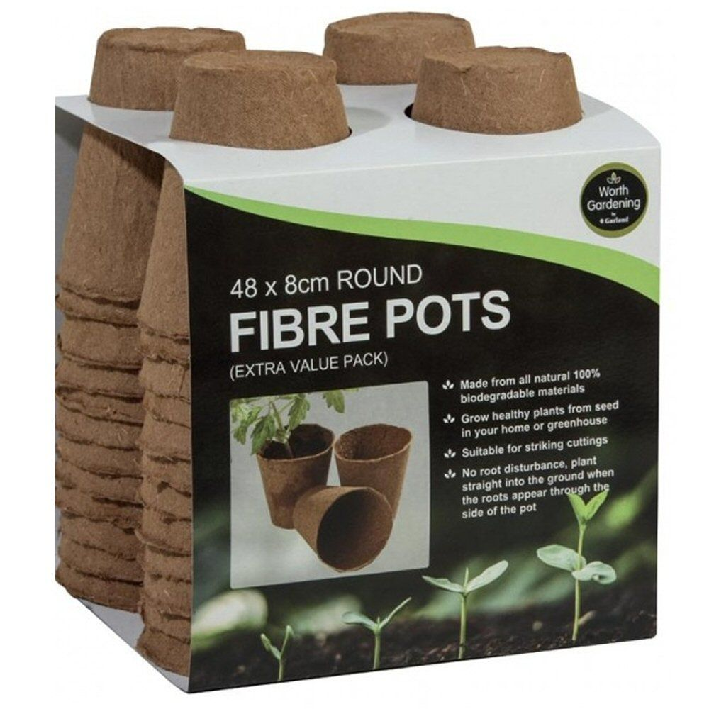 Garland 8cm Round Fibre Pots (Pack of 48)