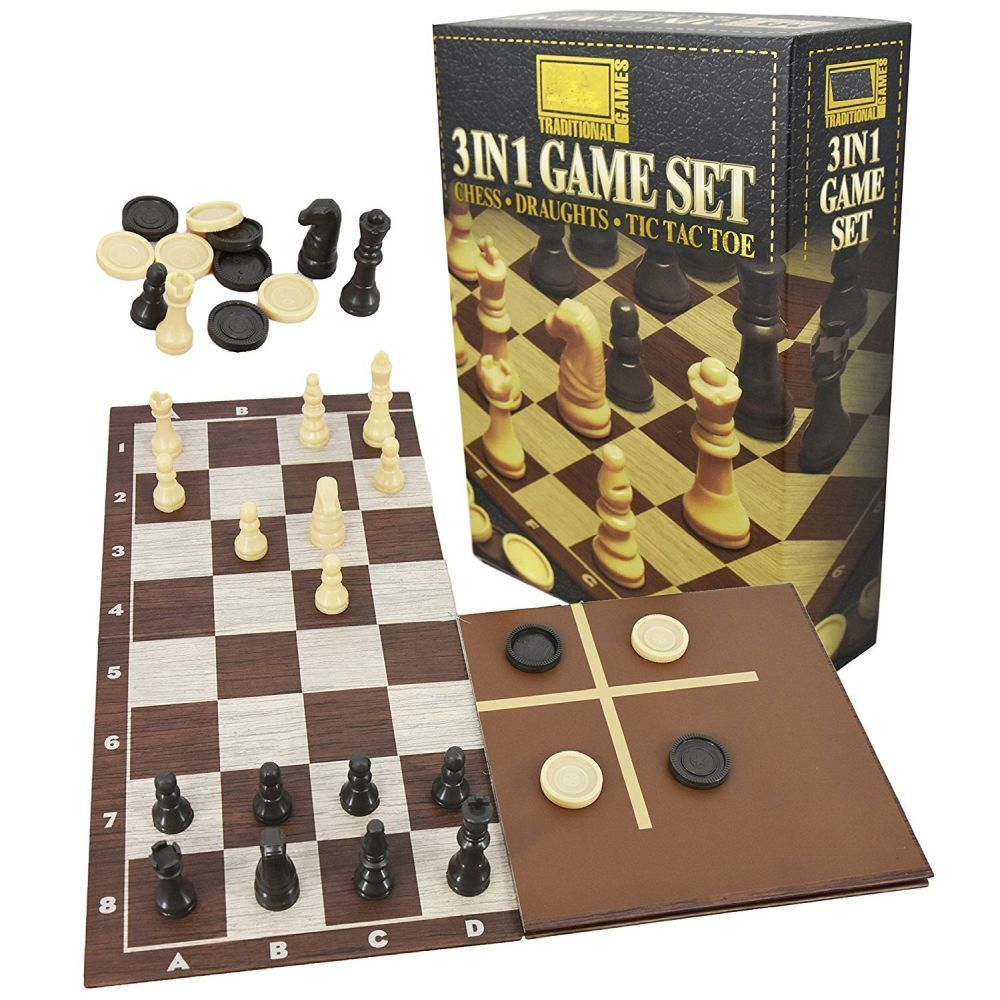 Kandy Toys 3 in 1 Chess Tic Tac Toe And Draughts Board Game