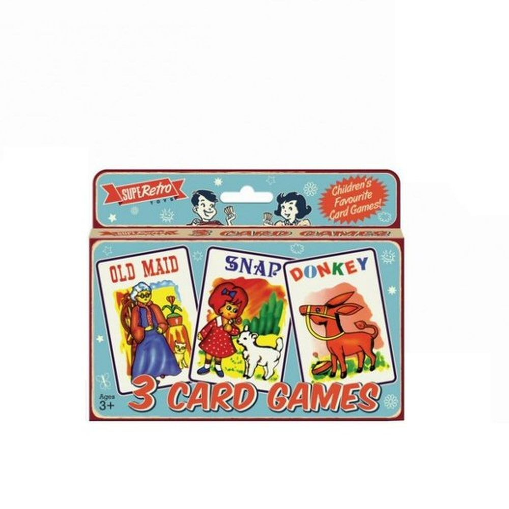 Retro Set of 3 Playing Card Games - Old Maid, Snap & Donkey